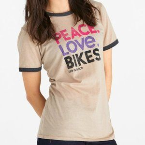 Life is Good Cool Tee Peace Love Bikes T-Shirt